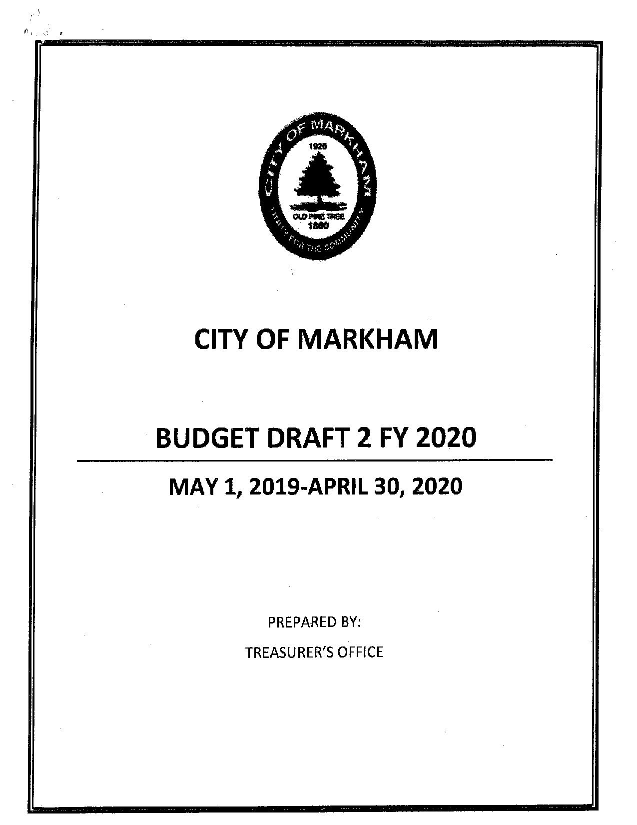 Budget Draft 2019-2020 Cover Image