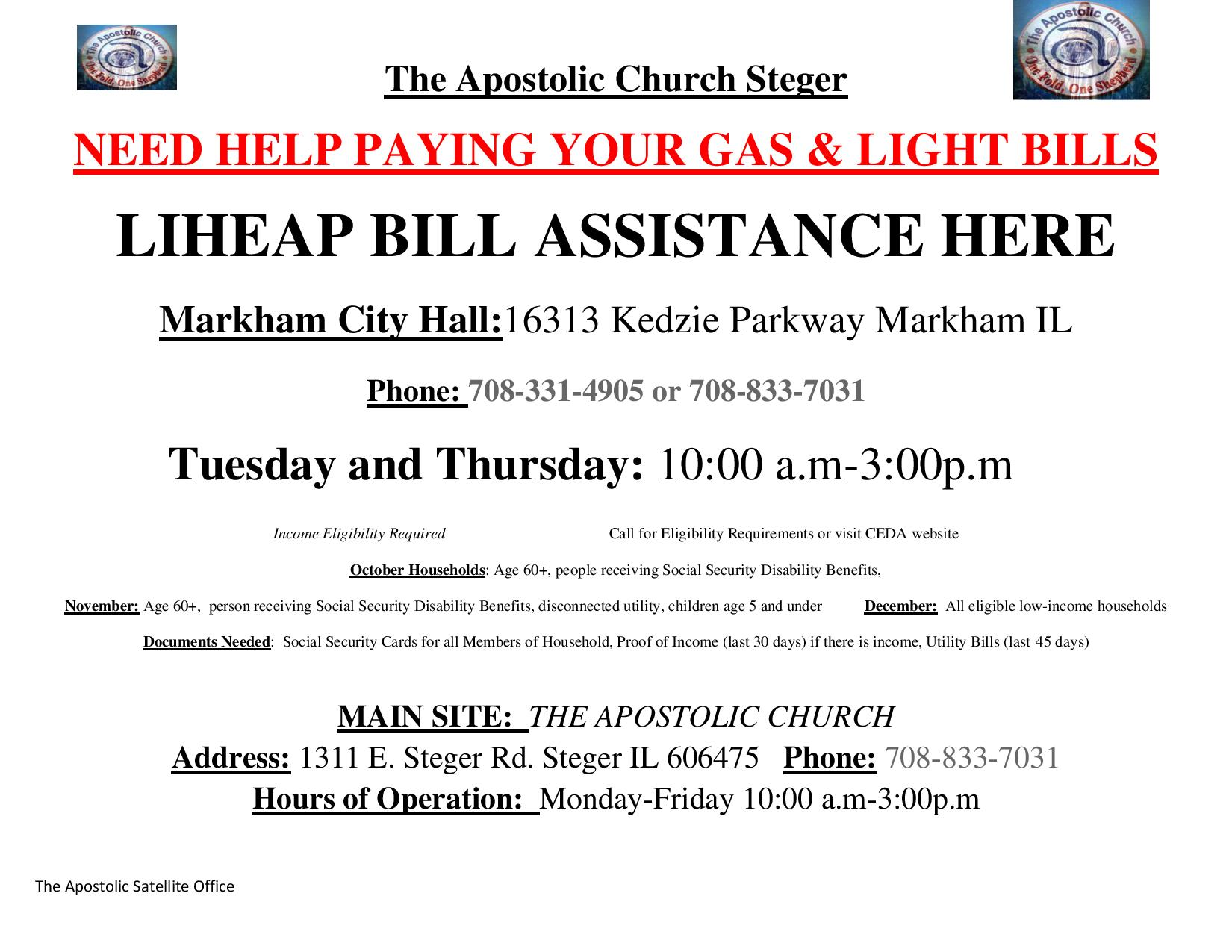 Apostolic Church LIHEAP Flyer