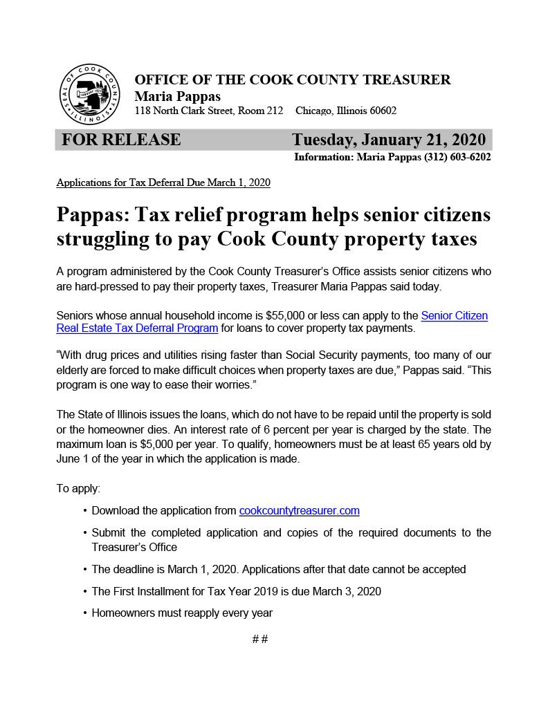 Deadline for Senior Citizen Property Tax Deferral1024_1