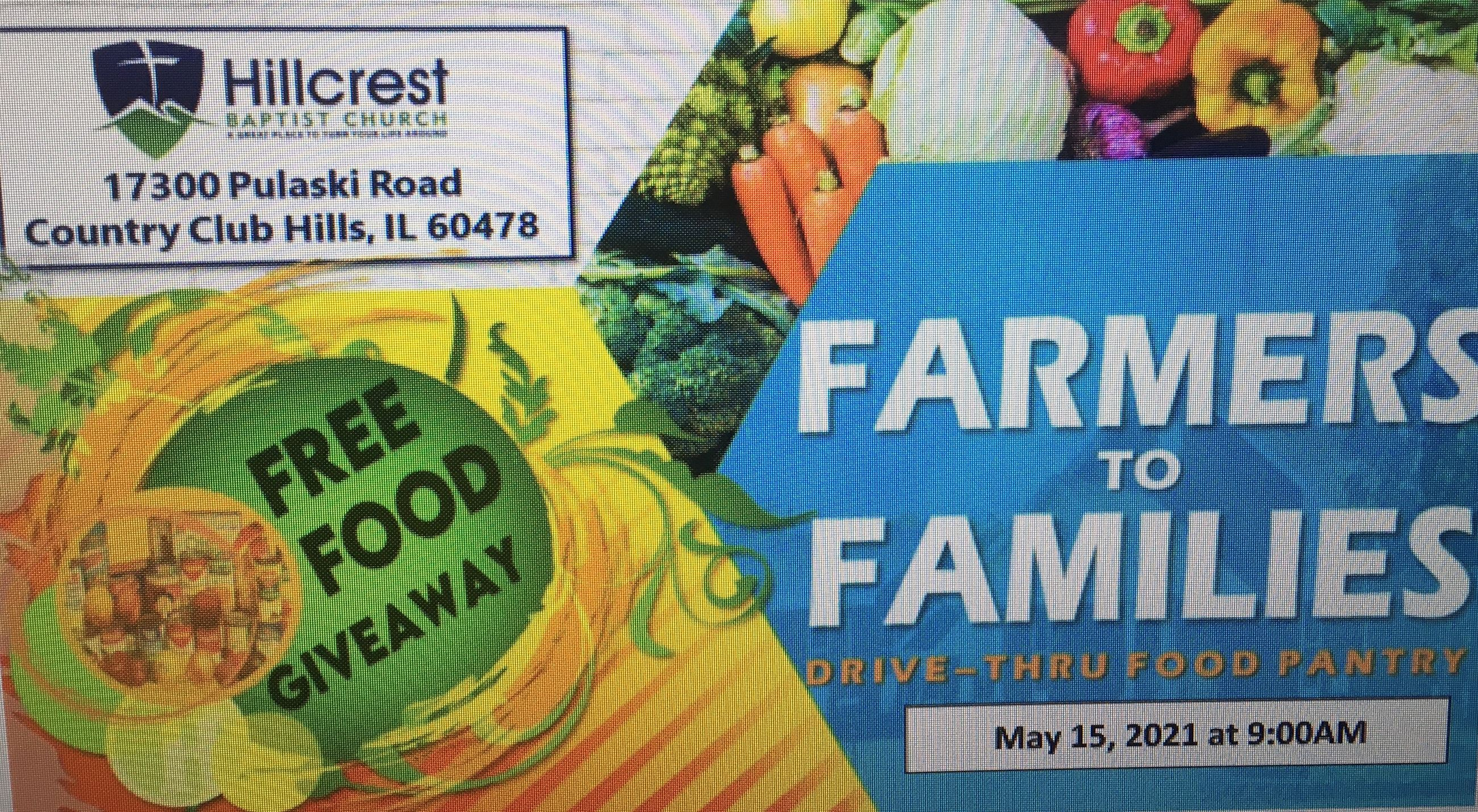 Drive Thru Food Pantry Flyer for May 15th